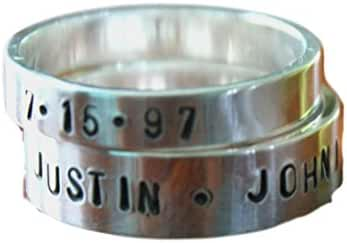 Personalized Name Stackable Ring Set- Mom of two- Family ring- Christmas Gift