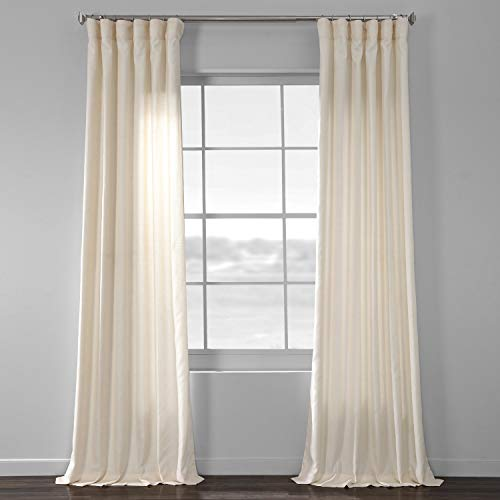 HPD Half Price Drapes SSKR-71833-96 Faux Dupioni Raw Silk Curtain, 50 X 96, Vireo Ivory (Drapes Silk Raw)