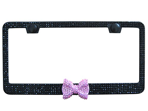 Bling Stuff For Fun TM - 6Row Black Color Coated Bling GLASS Rhinestone Auto License Plate Frame Holder With Bow on Bottom/Middle And Caps For women Girl (Black w/ Pink (Arizona State Diamond Plate)