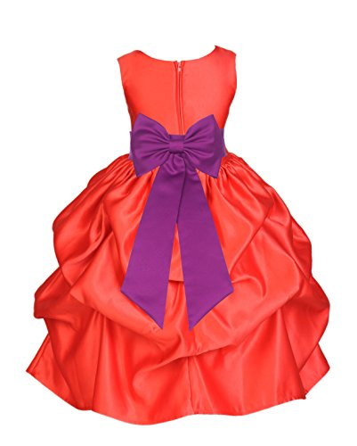 ekidsbridal Red Satin Bubble Pick-Up Toddler Flower Girl Dress Graduation Dress 208T 4