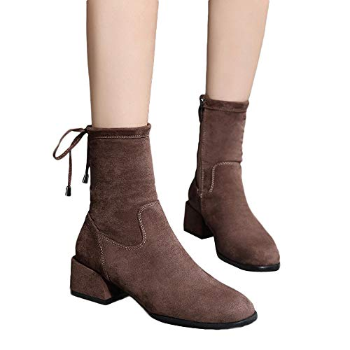 Women Square Heel Shoes Martain Boot Suede Solid Color Round Toe Zipper Shoes