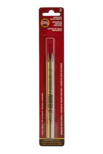 Koh-I-Noor Progresso Woodless Colored Pencil Set, Gold and Silver, 1 Per Color, 2 Pencils Per Pack (FA8750GS.BC)