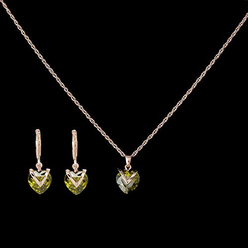 Endicot 18K Gold Plated Cubic Zirconia Heart Pendant Necklace Chain Earring Jewelry Sets | Model ERRNGS - 3886 |
