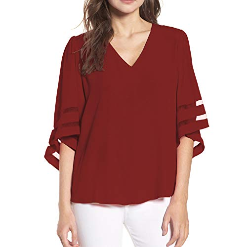 Shy Velvet Women's V Neck 3/4 Bell Sleeve Chiffon Blouse Mesh Panel Loose Top Shirts Wine