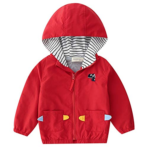 (Kids Baby Boys Waterproof Jacket Coat Hooded Windbreaker Clothes Lightweight Mac Summer Outdoor Showerproof Outfit Hong 110 Red)