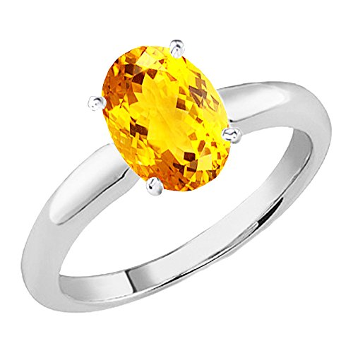14K White Gold 9x7 MM Oval Cut Citrine Ladies Solitaire Bridal Engagement Ring (Size 7)