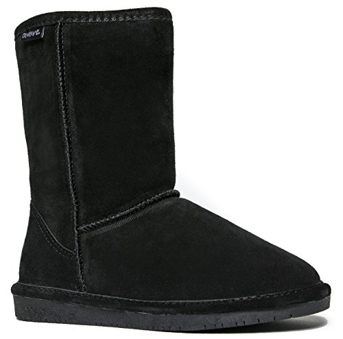Bearpaw Emma Short Black suede Fur Lined Sheepskin Comfortable Boots (10) (Artic Boots Joan Of)