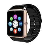 Qiufeng GT08 Smart Watch Smartwatch Bluetooth Touchscreen Sweatproof Phone with Camera TF/SIM Card Slot for Android and iPhone Smartphones for Kids Girls Boys Men Women(Gold)