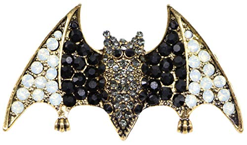 AZfasci Bee Antique Brooch Insect Vintage Austrian Crystal Rhinestone Corsage Pin (Bat Black)