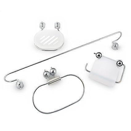 Set de accesorios para baño Set de 4 piezas Acero Jabonera Soporte para  rollos de papel 065d90c871b9