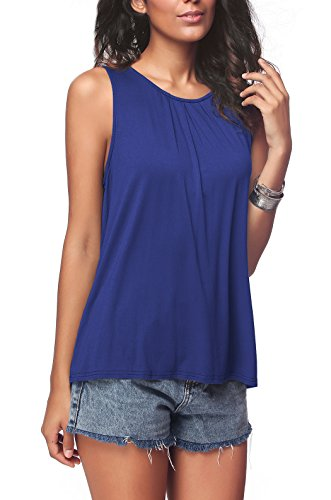 (iGENJUN Women's Summer Sleeveless Pleated Back Closure Casual Tank Tops,Royal Blue,M)