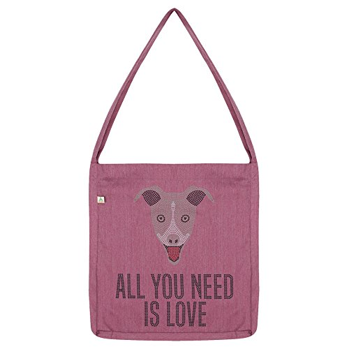 Twisted Envy All You Need is love And A Grey Hound Tote Bag Pink
