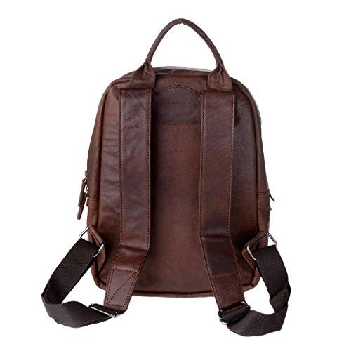 Hombre casual vintage mochilas de piel arrugada porta PC notebook cremallera DUDU Marron