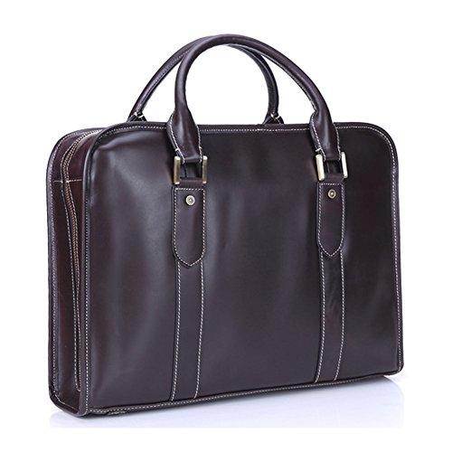 Première Couche en Cuir Véritable Business Briefcase L'ordinateur Portable des Hommes Sac à Main Peut Loger dans 16 Ordinateur Portable