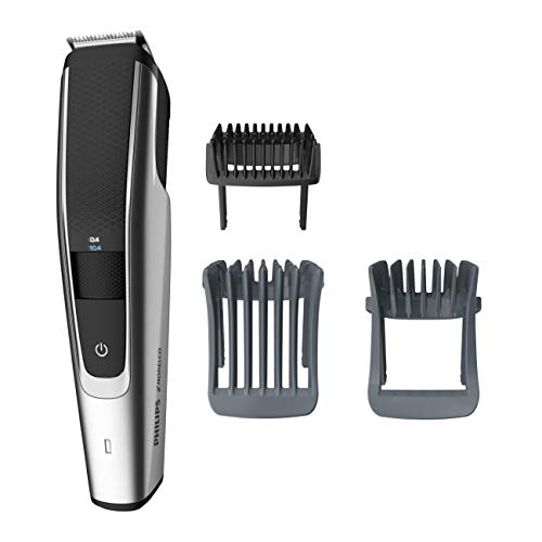 Philips Norelco Beard Trimmer Series 5000, BT5511/49, electric, cordless, one pass beard and stubble trimmer with washable feature for easy clean, Black and Silver ()