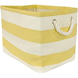 DII Woven Paper Storage Basket or Bin, Collapsible & Convenient Home Organization Solution for Office, Bedroom, Closet, Toys, & Laundry (Medium - 15x10x12�), Yellow Rugby Stripe