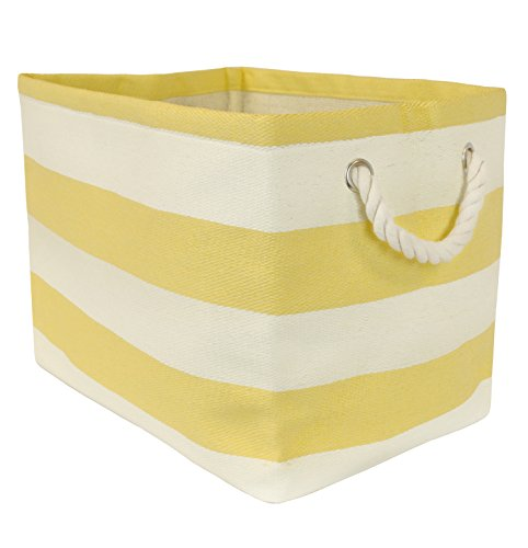 DII Woven Paper Storage Basket or Bin, Collapsible & Convenient Home Organization Solution for Office, Bedroom, Closet, Toys, Laundry (Small - 11x10x9�), Yellow Rugby Stripe