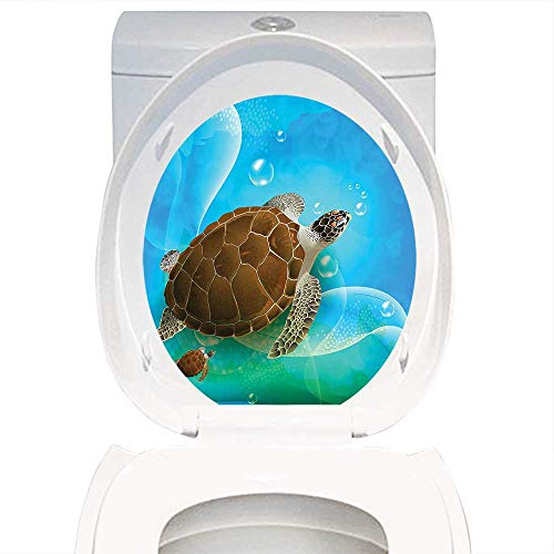 Swimming Turtle Earrings - Home Decoration Ocean Decor Turtle Family Swimming in The Ocean Bubbles Underwater World Cartoon Fun Artwork Green Blue Brown. Toilet Cover Stickers W14 x L16