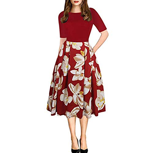Women A-line Floral Vintage Print Evening Party Dress Changeshopping Red