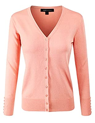 ELF FASHION Women Top Long Sleeve Button V-Neck Knit Sweater Cardigan (Size S~3XL)