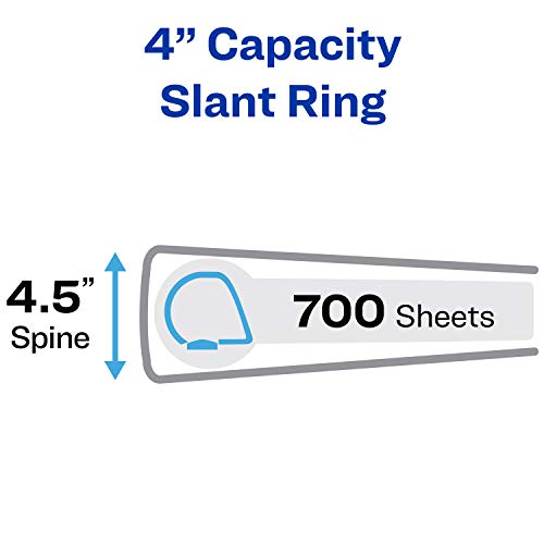 "Avery Heavy Duty View 3 Ring Binder, 4"" One Touch Slant Ring, Holds 8.5"" x 11"" Paper, 1 White Binder (79704)"