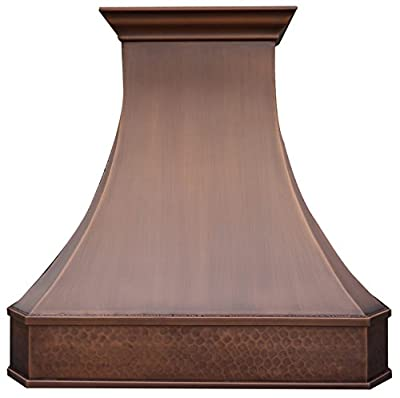Sinda Copper Range Hood with High Airflow Centrifugal Blower, Includes SUS 304 Liner and Baffle Filter, High CFM Vent Motor, Wall/Island/Ceiling Mount, Width 30,36,42,48 in (W36 xH39 Wall)