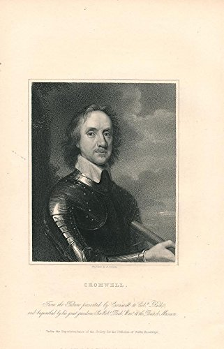 Oliver Cromwell wearing armour refined look 1835 nice old antique portrait print