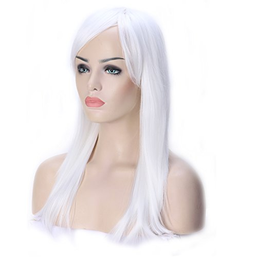 Cosplay Wig White Long Straight for Anime Cosplay Party Women Halloween Costume Dress Synthetic Heat Resistant Fiber -