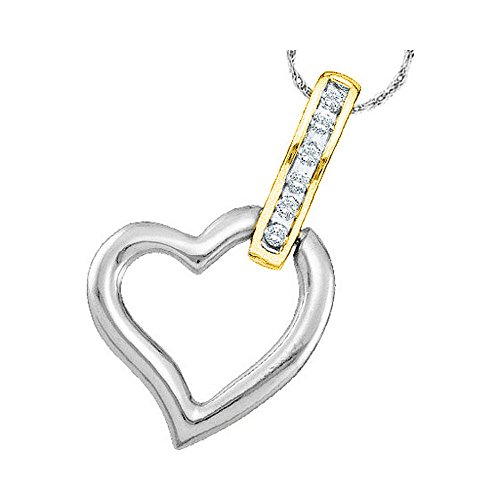 Roy Rose Jewelry 10K White Two-tone Gold Ladies Diamond Heart Love Pendant 1/12 Carat tw - 2 Tone Diamond Heart
