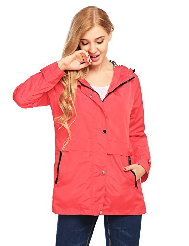 Finejo Womens Classic Quilted Jacket Short Bomber Jacket Coat Ponceau, X-Large
