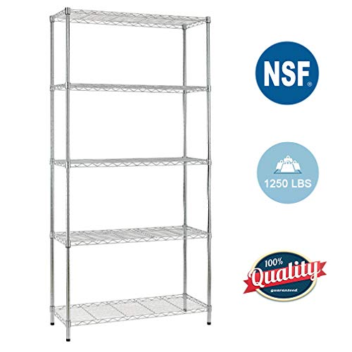 - 5 Shelf Wire Shelving Unit Garage Heavy Duty Height Adjustable Commercial Grade NSF Certification Utility Rolling Steel Layer Rack Organizer Kitchen