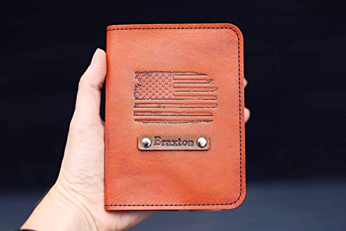 - Personalized Leather Passport Holder, Custom Cover, American Flag USA Custom text, name initials