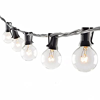 SUNSGNE 25Ft Outdoor Patio String Lights with 25 Clear Globe G40 Bulbs,UL Certified for Patio Porch Backyard Deck Bistro Gazebos Pergolas Balcony Wedding Gathering Parties Markets Decor, Black