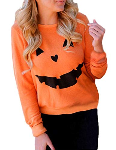 Loose Women Halloween (Halloween Pumpkin Face Funny Shirt Women's Graphic Cute Tops Long Sleeve Casual O-Neck Pullovers Blouse (X-Large,)