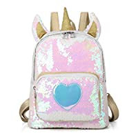 Bling Sequins Unicorn Backpack for Girls Travel Shining Backpack Casual Daypack for Women and Student by Tonfant