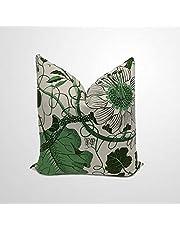 Svenskt Tenn La Plata grönt kuddfodral, dubbelsidig, bondestug accentkudde, dekorativ prydnadskudde för vardagsrum, soffa, inträde, födelsedagspresent, linne, 45,7 cm
