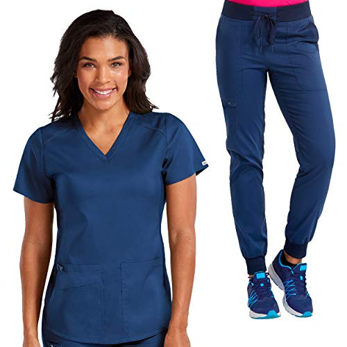 Med Couture New Touch Women's V-Neck Shirttail Scrub Top & Jogger Yoga Pant Set