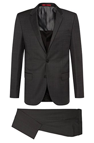 Hugo Boss Subtly Patterned Extra Slim Fit 2 Piece Men's Suit in New Wool C-Huge1/C-Genius Charcoal Dot by Hugo (46 Regular USA Jacket/40 Waist - Express Suit For Men