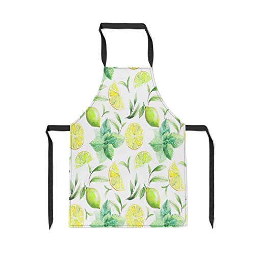 (Pinbeam Apron Nice Pattern of Tea Leafs and Citrus Fruits with Adjustable Neck for Cooking Baking Garden)