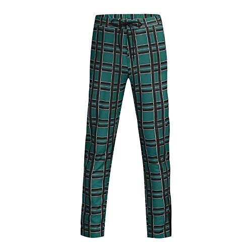 Trousers Men Skinny Pencil Pants 2019 Long Casual Sport Pants Slim Fit Plaid Trousers Joggers Streetwear Track Jogger,Green,L,United States