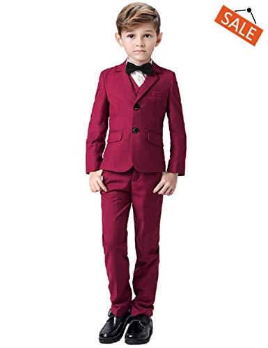 Boys Suits Toddler Kids Tuxedo Suit Red 5 Pieces Adjustable Pants Vest Classic Fit with Bowtie Size 4 (Tuxedo Pants Adjustable)