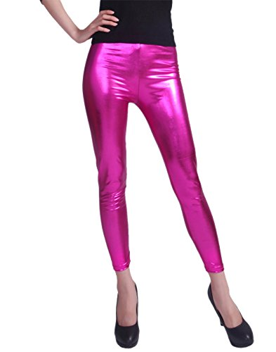 HDE Women Clubwear Shiny Liquid Wet Look Metallic Stretch Leggings - Plus Sizes Available (Hot Pink, Large)