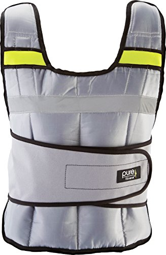 Pure Fitness Adjustable Weighted Exercise/Training Vest, One Size Fits Most: 20 Pounds, Grey/Lime
