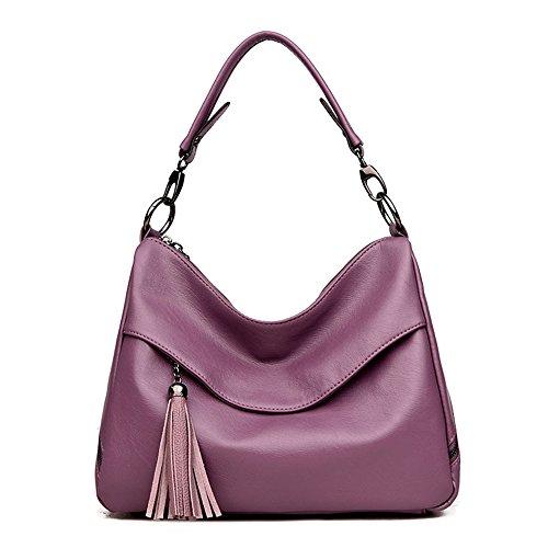 GWQGZ Borlas De Nuevo Simple Elegante Suave Cuero Señoras Solo Hombro Bolsa Spanning Sesgar Gules Violet