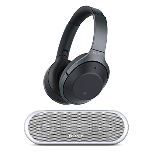 Sony Noise Cancelling Headphones WH1000XM2: Over Ear Wireless Bluetooth Headphones with Case - Black with Portable Wireless Speaker with Bluetooth and NFC