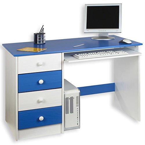 IDIMEX Bureau enfant multi rangements MALTE, tiroirs et support clavier pin massif lasuré blanc bleu