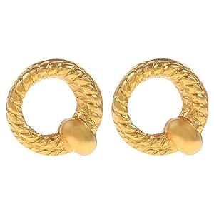E'arrs Women's Gold Plated Wreath Stud Earrings