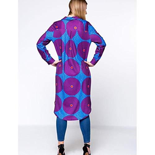 Blusa Purple Botones clásica Color con Camisa Alta Floral Abajo S largas con Size para Mujer Mangas wqwOaXt