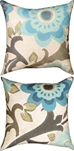 Pair of Peacock Blossom Reversible Indoor/Outdoor Decorative Throw Pillows
