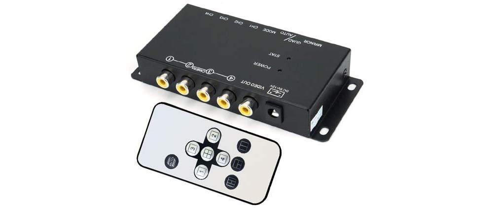 4-Channel Mini Quad Video Processor with IR Remote + Multi-View Screen